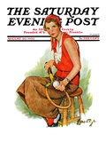 """Woman Tennis Player "" Saturday Evening Post Cover  August 20  1932"
