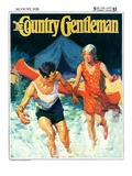 """""""Camping Couple Goes Swimming """" Country Gentleman Cover  August 1  1928"""