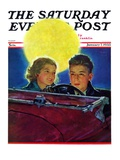 """Moonlit Car Ride "" Saturday Evening Post Cover  January 7  1933"