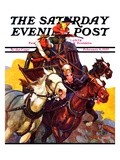 """Speeding Stagecoach "" Saturday Evening Post Cover  February 6  1937"