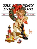 """Christmas Stocking Joy "" Saturday Evening Post Cover  December 24  1938"