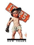 """Industrial New Years Baby with License Plate ""January 3  1925"