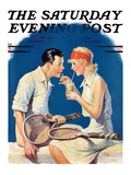 """Tennis Couple "" Saturday Evening Post Cover  June 21  1930"