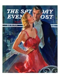 """""""Formal Couple on Balcony """" Saturday Evening Post Cover  July 30  1938"""