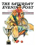 """Tennis Champs "" Saturday Evening Post Cover  August 22  1931"