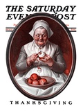 """Peeling Apples "" Saturday Evening Post Cover  November 28  1925"