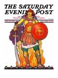 """Samurai Warrior "" Saturday Evening Post Cover  February 20  1932"