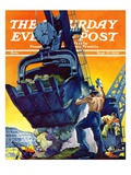 """Steam Shovel "" Saturday Evening Post Cover  September 17  1938"