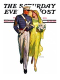 """Military Grad and Girl "" Saturday Evening Post Cover  June 7  1930"