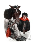 """Boy Watering Horses ""January 12  1924"