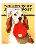 """Hunting Dog and Cap "" Saturday Evening Post Cover  October 29  1938"