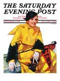 """Football Fan "" Saturday Evening Post Cover  November 5  1932"