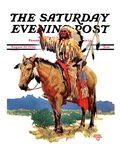 """Indian Chief on Horseback "" Saturday Evening Post Cover  August 22  1936"