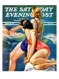 """At the Pool "" Saturday Evening Post Cover  August 28  1937"