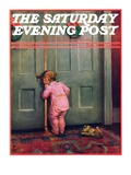 """Christmas Peek "" Saturday Evening Post Cover  December 22  1934"