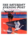 """Moose and White Goose "" Saturday Evening Post Cover  March 23  1935"