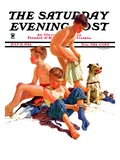 """After a Swim "" Saturday Evening Post Cover  July 21  1934"