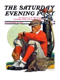 """Golfer Kept Waiting "" Saturday Evening Post Cover  September 12  1931"