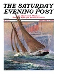 """Yacht and Steamship "" Saturday Evening Post Cover  January 23  1932"