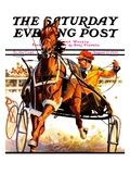"""Harness Race "" Saturday Evening Post Cover  August 17  1935"
