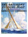"""Sailboat Regatta "" Saturday Evening Post Cover  September 8  1934"