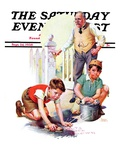 &quot;Cleaning Up Graffiti &quot; Saturday Evening Post Cover  September 24  1938