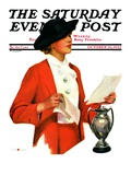 """Woman Reading Letter "" Saturday Evening Post Cover  October 26  1935"