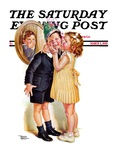 """Birthday Kiss "" Saturday Evening Post Cover  March 5  1938"