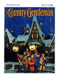 """Christmas Carolling in Village at Night "" Country Gentleman Cover  December 1  1930"