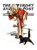 """Drum Major and Black Cat "" Saturday Evening Post Cover  May 28  1938"