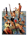 """Crowd of Boys Swimming ""July 28  1928"