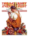"""Fireman with Winning Hand "" Saturday Evening Post Cover  March 12  1938"