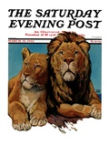 """""""Lion Couple """" Saturday Evening Post Cover  March 19  1932"""