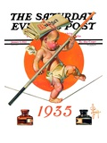 """Baby New Year Balances the Budget "" Saturday Evening Post Cover  January 5  1935"