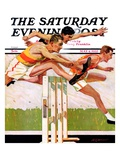 """Hurdlers "" Saturday Evening Post Cover  May 4  1935"