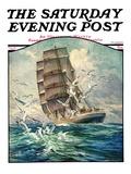"""Storm at Sea "" Saturday Evening Post Cover  October 31  1931"