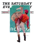 """Jockey Looks at Poster "" Saturday Evening Post Cover  May 8  1937"
