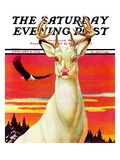 """Albino Deer "" Saturday Evening Post Cover  January 8  1938"