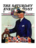 """Ship's Captain "" Saturday Evening Post Cover  July 28  1934"