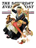 """""""In a Jam """" Saturday Evening Post Cover  November 28  1931"""