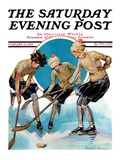 """Girls Playing Ice Hockey "" Saturday Evening Post Cover  February 23  1929"