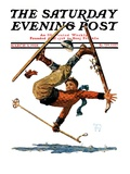 """Wipeout on Skis "" Saturday Evening Post Cover  March 3  1928"
