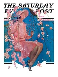 """Woman on Floral Swing "" Saturday Evening Post Cover  May 19  1928"