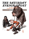 """Marbles Game "" Saturday Evening Post Cover  March 28  1925"