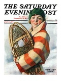 """Woman and Snowshoes "" Saturday Evening Post Cover  January 26  1929"