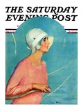 """Woman at the Rudder "" Saturday Evening Post Cover  August 17  1929"