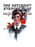 """Woman in Tie "" Saturday Evening Post Cover  November 15  1924"