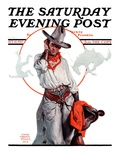 """Bronco Toss "" Saturday Evening Post Cover  October 10  1925"
