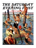 """Crowd of Boys Swimming "" Saturday Evening Post Cover  July 28  1928"
