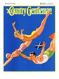 """Diving Women and Man "" Country Gentleman Cover  August 1  1932"
